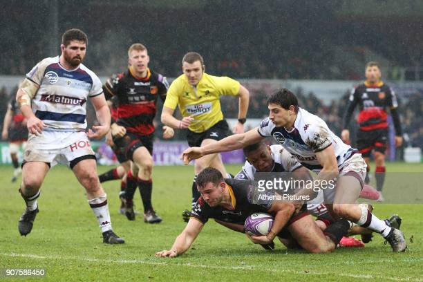 Elliot Dee of Dragons scores his sides first try of the match during the European Challenge Cup match between Dragons and Bordeaux Begles at Rodney...