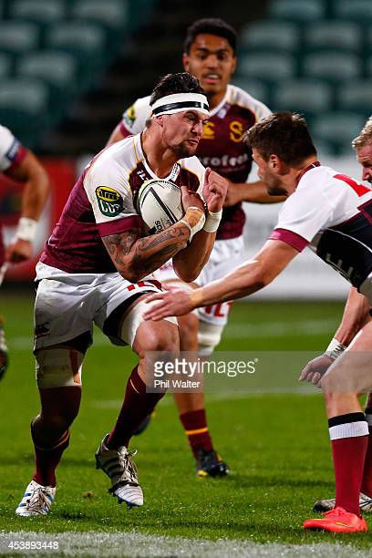 Elliot Dixon of Southland is tackled during the round two ITM Cup match between North Harbour and Southland at QBE Stadium on August 21 2014 in...