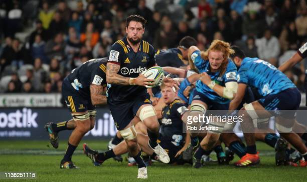 Elliot Dixon of the Highlanders on the charge during the round 10 Super Rugby match between the Highlanders and the Blues at Forsyth Barr Stadium on...