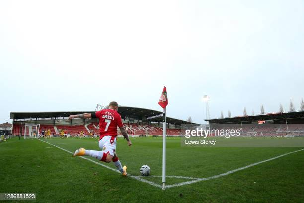 Elliot Durrell of Wrexham takes a corner during the Vanarama National League match between Wrexham and Aldershot Town at Racecourse Ground on...