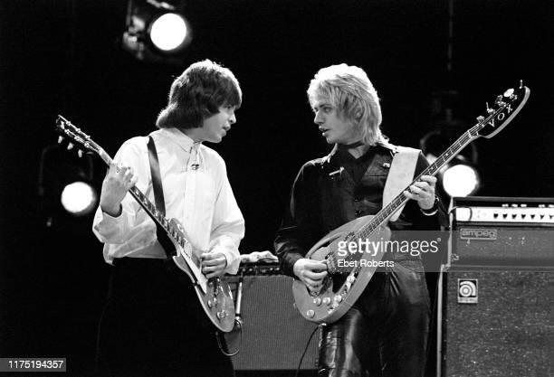 Elliot Easton and Ben Orr performing with 'The Cars' on 'The Chorus Show' for French TV in Paris France on November 26 1978