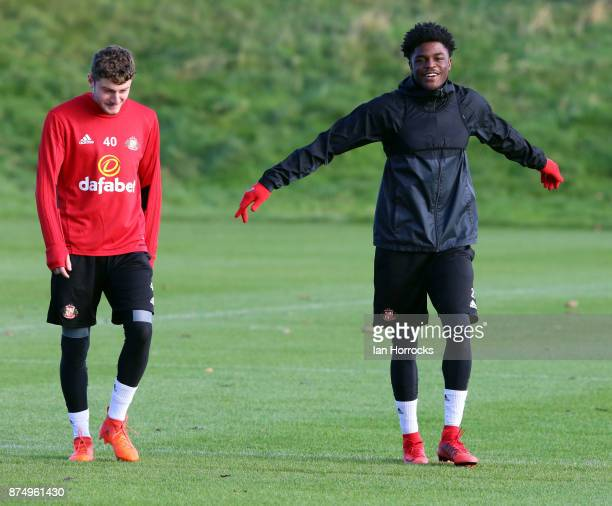Elliot Embleton and Josh Maja during a Sunderland AFC training session at The Academy of Light on November 16 2017 in Sunderland England