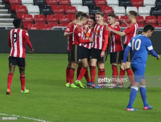 Elliot Embleton of Sunderland celebrates after he scores the second goal during the Premier League International Cup Quarter Final match between...