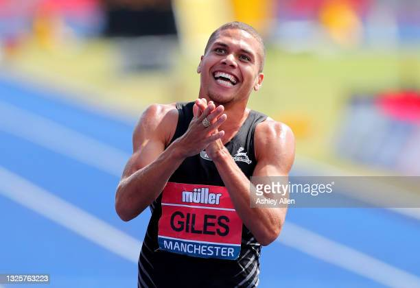 Elliot Giles of Birchfield celebrates winning the Mens 800m Final on Day Three of the Muller British Athletics Championships at Manchester Regional...