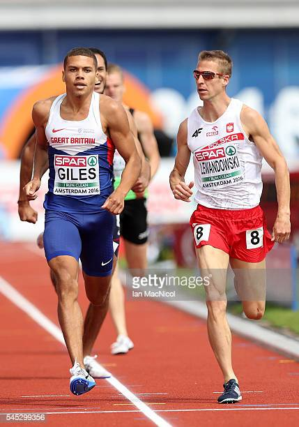 Elliot Giles of Great Britain and Marcin Lewandowski of Poland in action during their 800m heat on day two of The 23rd European Athletics...