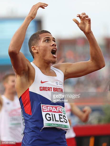 Elliot Giles of Great Britain celebrates winning bronze in the final of the mens 800m on day five of The 23rd European Athletics Championships at...