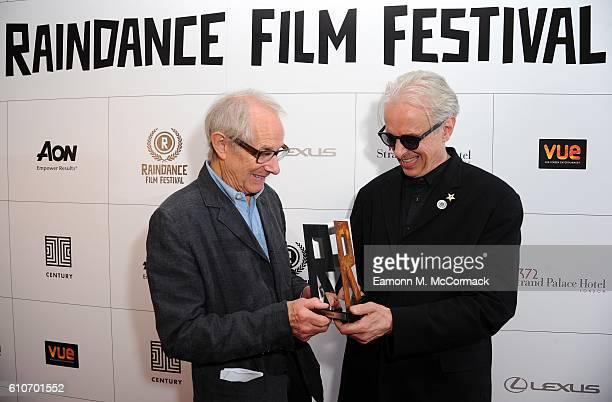 Elliot Grove Founder of The Raindance Film Festival presents Director Ken Loach with the first ever Raindance Auteur Award at Vue Piccadilly on...
