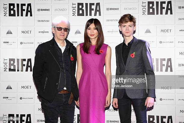 Elliot Grove Gemma Chan and Thomas BrodieSangster announce the The Moet British Independent Film Awards at The London Edition Hotel on on November 3...