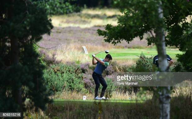 Elliot Groves of Romsey Golf Club plays his first shot on the 2nd tee during Day Three of the Galvin Green PGA Assistants' Championship at Coxmoor...