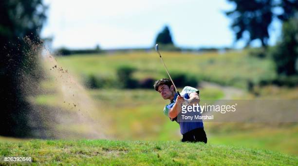 Elliot Groves of Romsey Golf Club plays out of a bunker on the 13th fairway during Day Three of the Galvin Green PGA Assistants' Championship at...