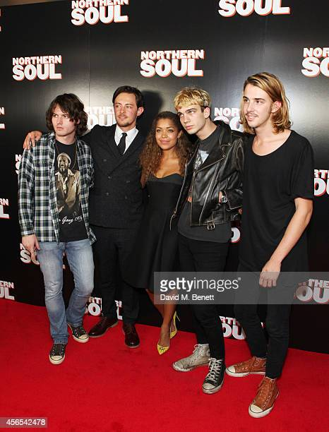 Elliot James Langridge and Antonia Thomas pose with Nathan Merli Chris Cool and Taco Cooper of HeyRocco at a Gala Screening of 'Northern Soul' at the...