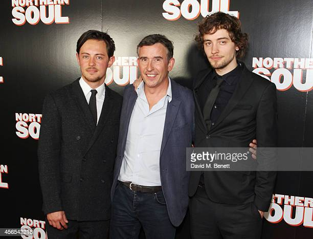 Elliot James Langridge Steve Coogan and Joshua Whitehouse attend a Gala Screening of 'Northern Soul' at the Curzon Soho on October 2 2014 in London...