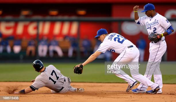 Elliot Johnson of the Kansas City Royals is late on the tag on Jayson Nix of New York Yankees as Nix advances on a Lyle Overbay hit while Alcides...
