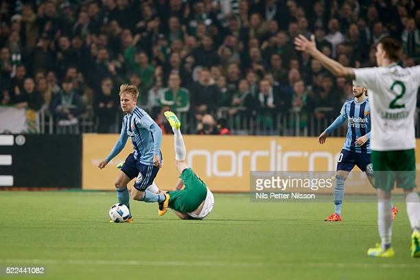 Elliot Kack of Djurgardens IF and Johan Persson of Hammarby IF during the allsvenskan match between Djurgardens IF and Hammarby IF at Tele2 Arena on...