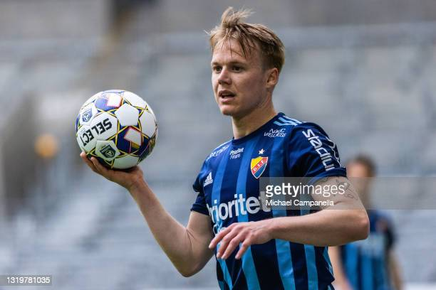 Elliot Kack of Djurgardens IF takes a throw in during the Allsvenskan match between Djurgardens IF and IFK Goteborg at Tele2 Arena on May 23, 2021 in...