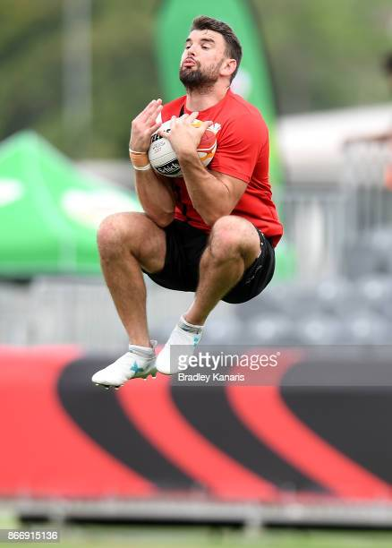Elliot Kear catches the high ball during a Wales Rugby League World Cup captain's run at the Oil Search National Football Stadium on October 27, 2017...