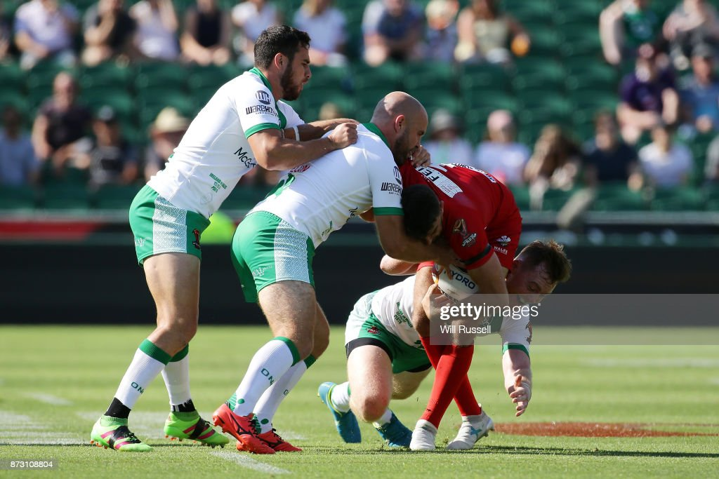 Elliot Kear of Wales is tackled during the 2017 Rugby League World Cup match between Wales and Ireland at nib Stadium on November 12, 2017 in Perth, Australia.