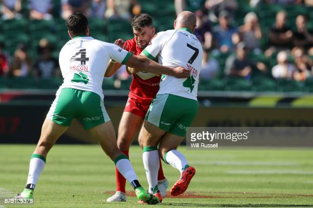 Elliot Kear of Wales is tackled during the 2017 Rugby League World Cup match between Wales and Ireland at nib Stadium on November 12 2017 in Perth...