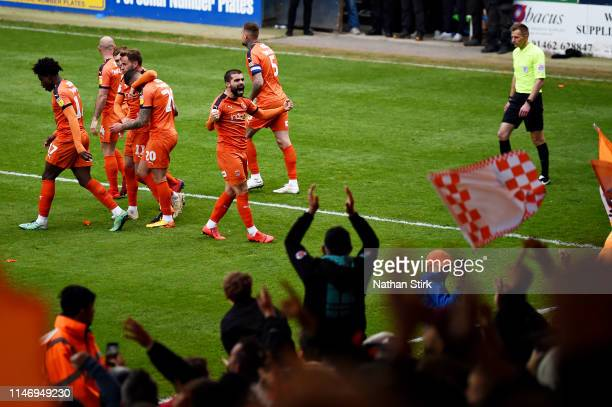 Elliot Lee of Luton Town celebrates scoring his sides second goal during the Sky Bet League One match between Luton Town and Oxford United at...