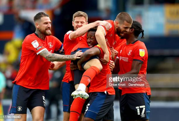 Elliot Lee of Luton Town celebrates scoring his teams second goal during the Sky Bet Championship match between Luton Town and Wycombe Wanderers at...
