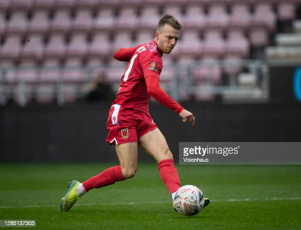 Elliot Newby of Chorley FC in action during the FA Cup 1st round match between Wigan Athletic and Chorley FC at the DW Stadium on November 8, 2020 in...
