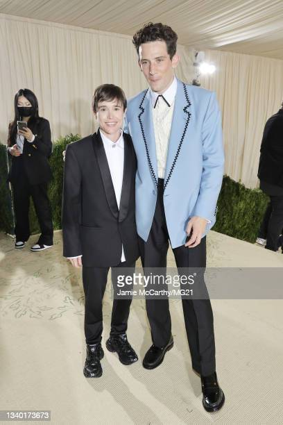 Elliot Page and Josh O'Connor depart The 2021 Met Gala Celebrating In America: A Lexicon Of Fashion at Metropolitan Museum of Art on September 13,...