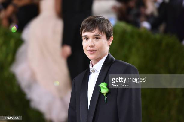 Elliot Page attends 2021 Costume Institute Benefit - In America: A Lexicon of Fashion at the Metropolitan Museum of Art on September 13, 2021 in New...