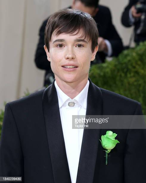 """Elliot Page attends the 2021 Met Gala benefit """"In America: A Lexicon of Fashion"""" at Metropolitan Museum of Art on September 13, 2021 in New York City."""