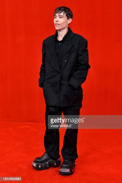 Elliot Page walks the runway during the Balenciaga Ready to Wear Spring/Summer 2022 fashion show as part of the Paris Fashion Week on October 2, 2021...