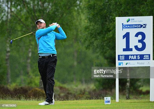 Elliot Saltman of Scotland in action on the 13th tee during the second round of the 2015 SSE Scottish Hydro Challenge at the MacDonald Spey Valley...