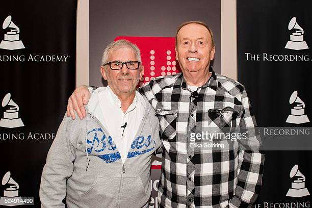 Elliot Scheiner music producer and engineer and Geoff Emerick famed recording engineer for the Beatles gather for a photo at Esplanade Studios on...