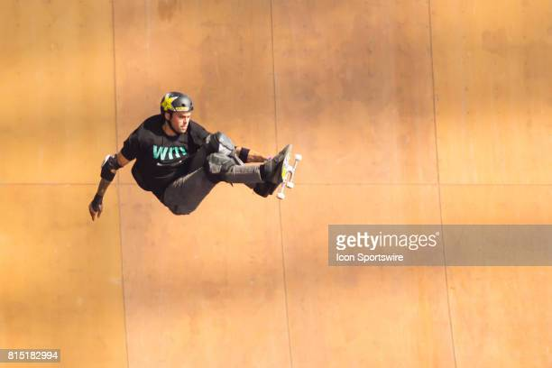 Elliot Sloan spins during the Skate Big Air Final Sloan won a gold medal at X Games Minneapolis on July 15 2017 at US Bank Stadium in Minneapolis...