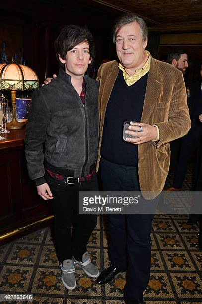 Elliot Spencer and Stephen Fry attend Harvey Weinstein's BAFTA Dinner in partnership with Burberry GREY GOOSE at Little House Mayfair on February 6...