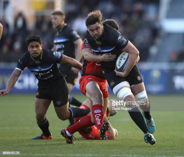 Elliot Stooke of Bath charges upfield during the European Rugby Champions Cup match between RC Toulon and Bath Rugby at Stade Felix Mayol on December...