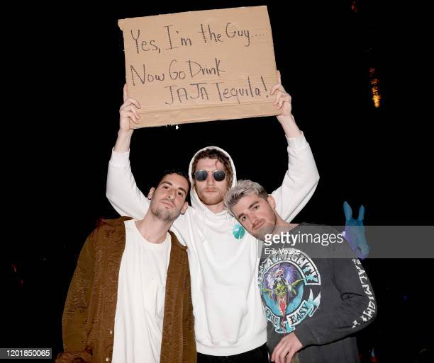 Elliot Tebele Seth Jacobs of 'Dude With Sign' and Andrew Taggart as JAJA Tequila Presents The Party For No Reason on January 24 2020 in Los Angeles...
