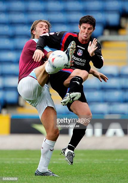 Elliot Ward of West Ham and Jon Macken of Crystal Palace battle for the ball during the preseason friendly match between Crystal Palace and West Ham...
