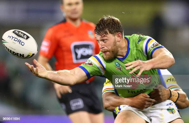 Elliot Whitehead of the Raiders loses the ball during the round 14 NRL match between the Canberra Raiders and the Penrith Panthers at GIO Stadium on...