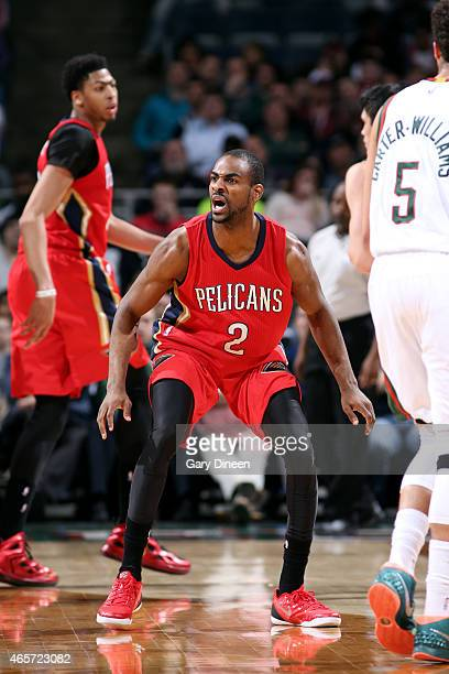 Elliot Williams of the New Orleans Pelicans guards his position against the Milwaukee Bucks on March 9, 2015 at the BMO Harris Bradley Center in...
