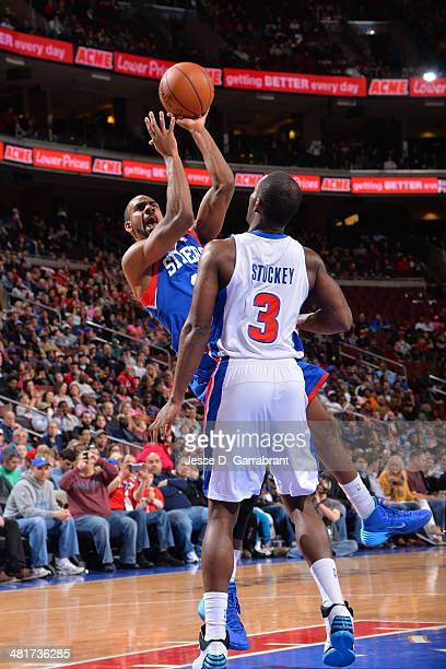Elliot Williams of the Philadelphia 76ers shoots against the Detroit Pistons at the Wells Fargo Center on March 29 2014 in Philadelphia Pennsylvania...