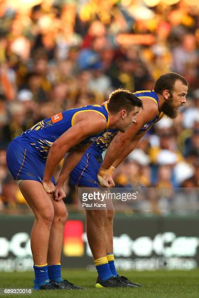 Elliot Yeo and Will Schofield of the Eagles look on after a Giants goal during the round 10 AFL match between the West Coast Eagles and the Greater...
