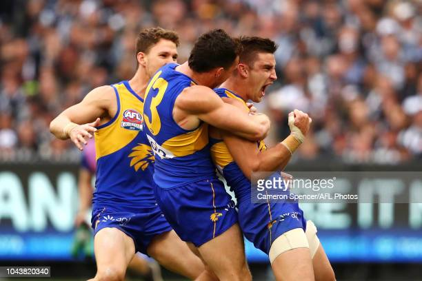 Elliot Yeo of the Eagles celebrates kicking a goal during the 2018 Toyota AFL Grand Final match between the West Coast Eagles and the Collingwood...