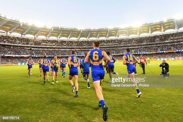 Elliot Yeo of the Eagles enters the arena during the 2018 AFL Round 04 match between the West Coast Eagles and the Gold Coast Suns at Optus Stadium...