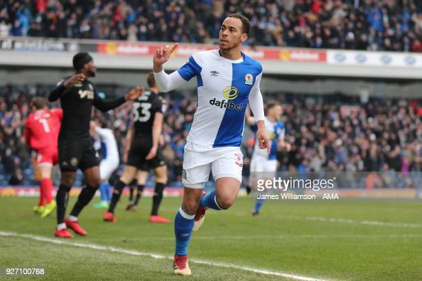 Elliott Bennett of Blackburn Rovers celebrates after scoring a goal to make it 2-0 during the Sky Bet League One match between Blackburn Rovers and...
