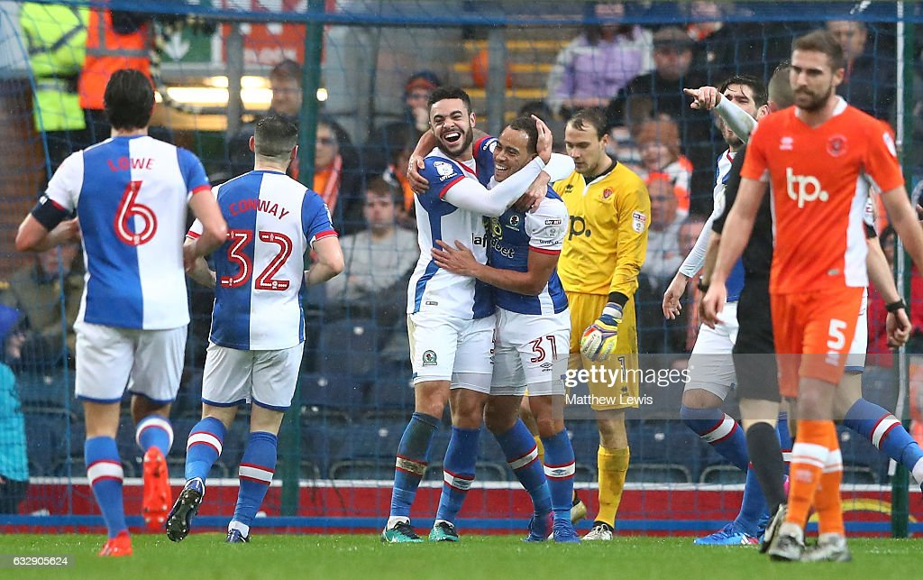 Elliott Bennett (4th L) of Blackburn Rovers celebrates scoring his team's second goal with his team mates during the Emirates FA Cup Fourth Round match between Blackburn Rovers and Blackpool at Ewood Park on January 28, 2017 in Blackburn, England.