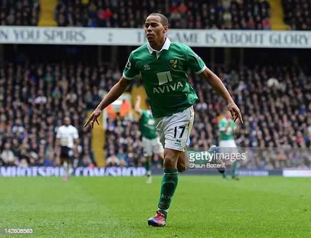 Elliott Bennett of Norwich celebrates scoring their second goal during the Barclays Premier League match between Tottenham Hotspur and Norwich City...