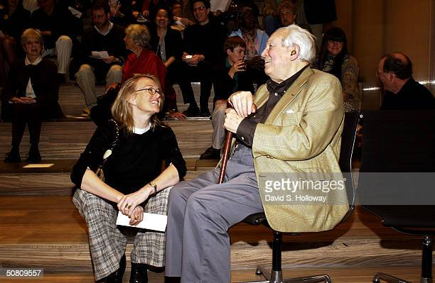 Elliott Carter and TFF president Jennifer Maguire pose at the Elliott Carter Documentary Concert at the Prada Store during the 2004 Tribeca Film...
