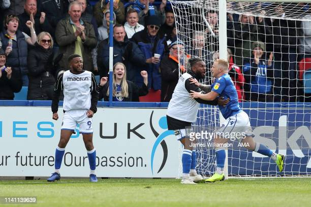 Elliott Durrell of Macclesfield Town celebrates after scoring a goal to make it 1-1 during the Sky Bet League Two match between Macclesfield Town and...