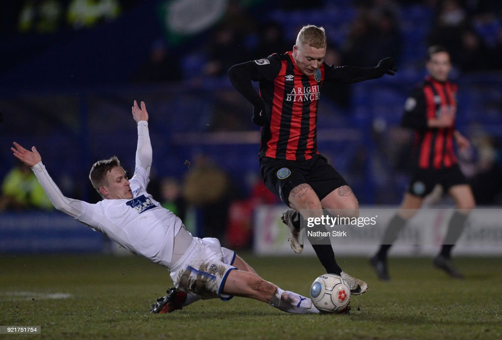Elliott Durrell of Macclesfield Town in action during the Vanarama National League match between Tranmere Rovers and Macclesfield Town at Prenton Park on February 20, 2018 in Birkenhead, England.