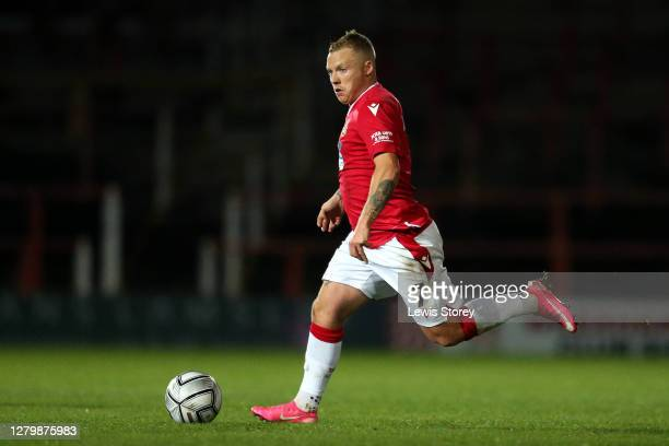 Elliott Durrell of Wrexham in possession during the Vanarama National League match between Wrexham and Maidenhead United at The Racecourse Ground on...