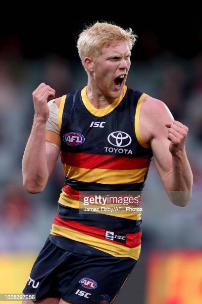 Elliott Himmelberg of the Crows celebrates a goal during the 2020 AFL Round 16 match between the Adelaide Crows and the GWS Giants at Adelaide Oval...